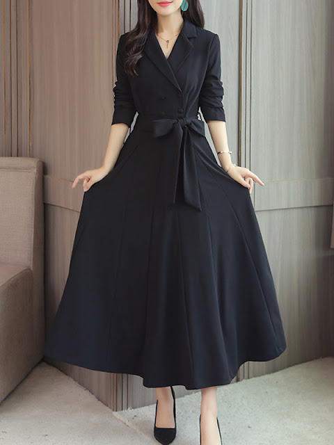 Fold-Over Collar Double Breasted Patch Pocket Plain Maxi Dress Black