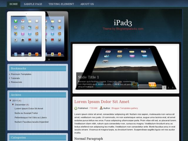 iPad3 Blogger Template