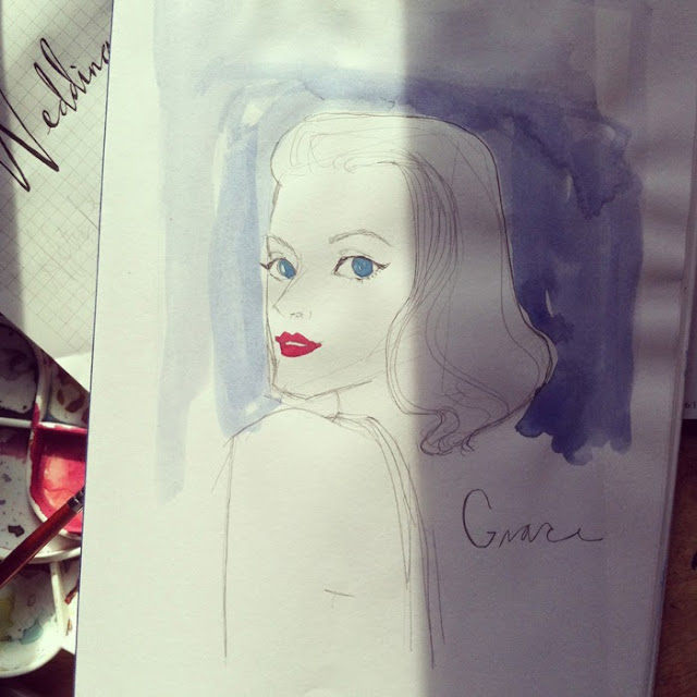 Kitty N. Wong / Grace Kelly watercolour portrait sketch