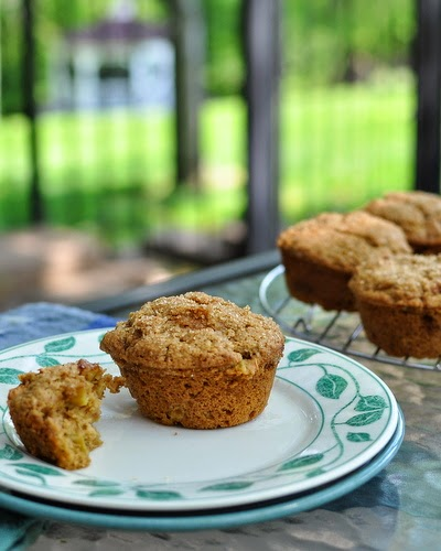 Rhubarb Muffins ♥ KitchenParade.com, less sweet, all whole-wheat, moist and fruity.