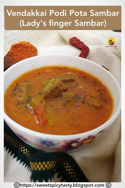 In a South Indian household, Sambar is a staple menu and a perfect accompaniment with steaming hot rice, okra sambar , podi pota sambar , sambar without coconut masala , no coconut sambar , can we make sambar without coconut