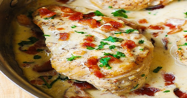 Asiago Chicken With Bacon Cream Sauce Recipe