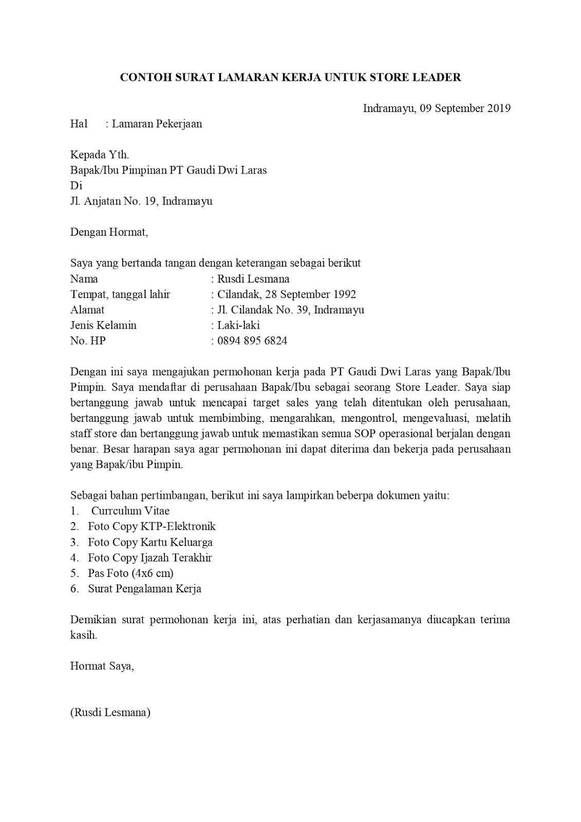 12+ Contoh surat lamaran kerja bisnis manajemen terbaru terbaru