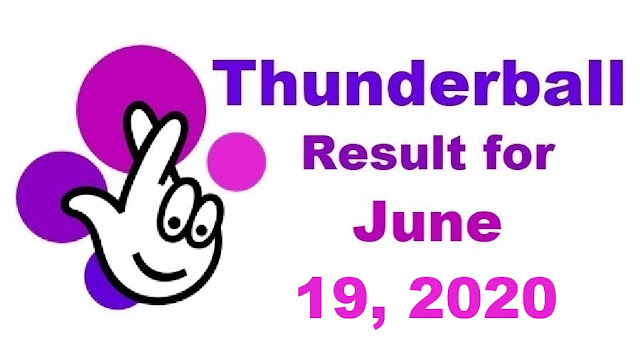 Thunderball Results for Friday, June 19, 2020