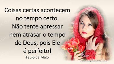 Coisas certas acontecem no tempo certo.  Não tente apressar nem atrasar o tempo de Deus, pois ele é perfeito!  Fábio de Melo