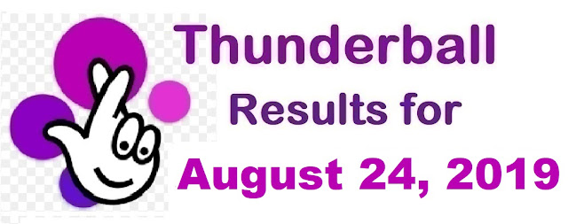 Thunderball results for Saturday, August 24, 2019