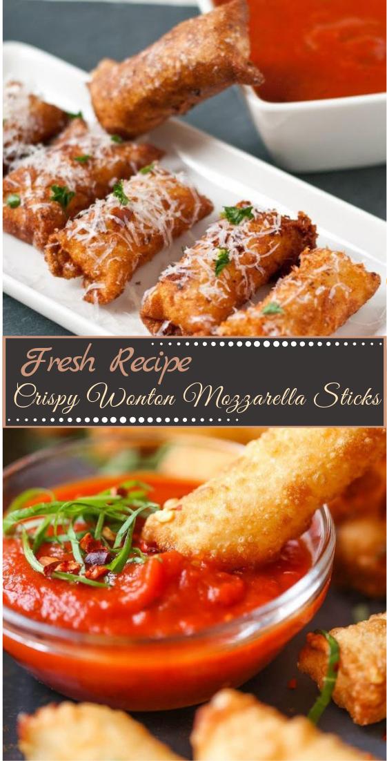 Crispy Wonton Mozzarella Sticks #healthyfood #dietketo #breakfast #food