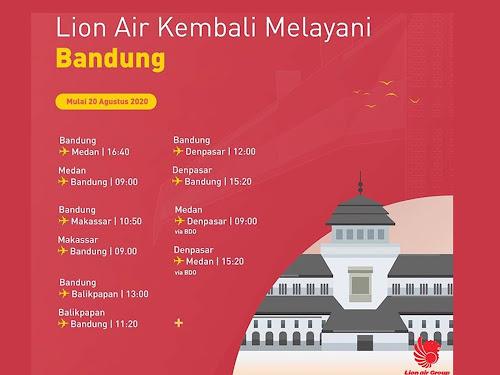 jadwal lion air bandara husein agustus 2020