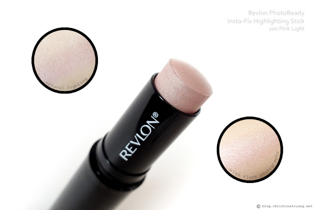 Revlon PhotoReady Insta-Fix Highlighting Stick Review Swatch in 200 Pink Light with and without flash photography