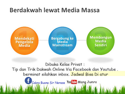 Dibuka Kelas Privat : Tip dan Trik Dakwah Online Via Facebook dan Youtube . berminat silahkan inbox. Jadwal Bisa Di atur