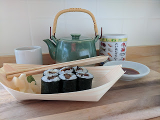 Soothing Moments with Japanese Green Tea & Sushi