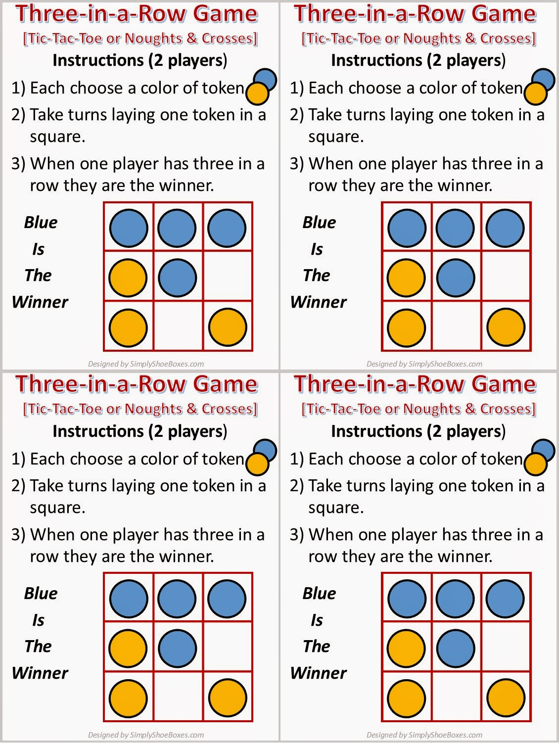 Tiic-Tac-Toe game instructions sheets to print for OCC shoeboxes.