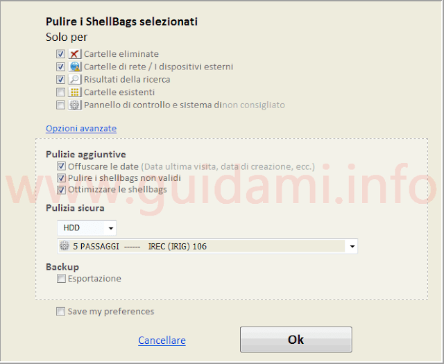Shellbag Analyzer & Cleaner opzioni di cancellazione