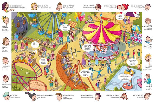 w LUNAPARKu_plac zabaw wesołe miasteczko katarzyna urbaniak ilustracja dla dzieci polish illustrator kapitan nauka na tropie angielskich słówek