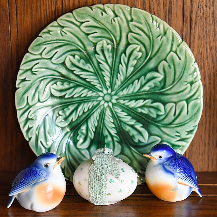 Patterned Majolica Plate and Egg and Bluebirds