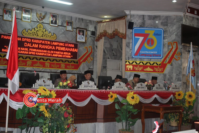 DPRD Lampura Gelar Sidang Paripurna Pembahasan Empat Raperda