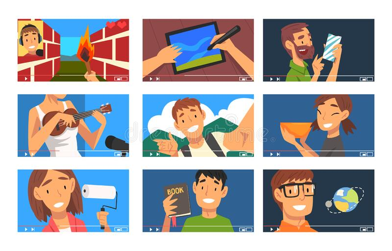 video bloggers collection different men women demonstrating their skills travel music gamer vlog vector illustration flat 176798674 - Record Label (Get A Record Deal today with this guide)