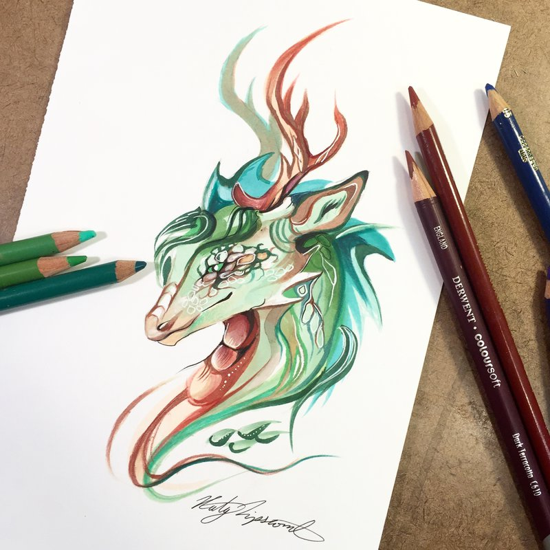 07-Forest-Dragon-Katy-Lipscomb-Colourful-Drawings-and-Illustrations-www-designstack-co