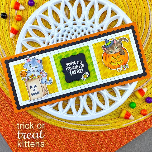 Cat Halloween Treats Card by Jennifer Jackson   Trick or Treat Kittens Stamp Set, Houndstooth Stencil and Slimline Frames & Windows Die Set by Newton's Nook Designs #newtonsnook