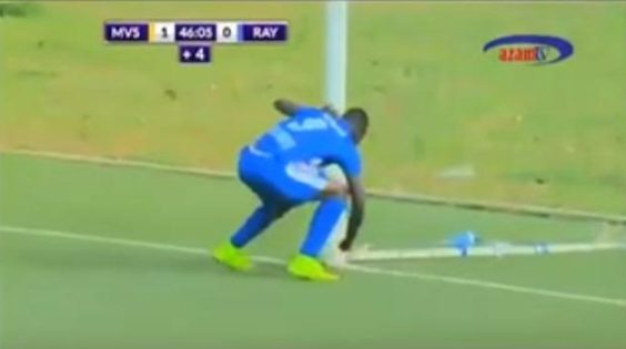 Watch the shocking moment a footballer removed charm from a goal post which was preventing him from scoring