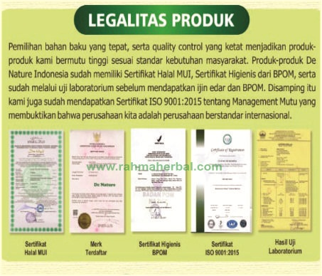 Legalitas produk Rahma herbal Denature