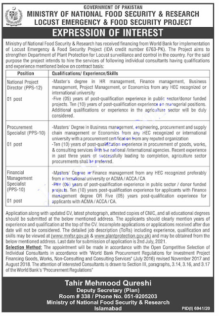 MNFSR  Jobs 2021 | Ministry of National Food Security and Research Jobs 2021
