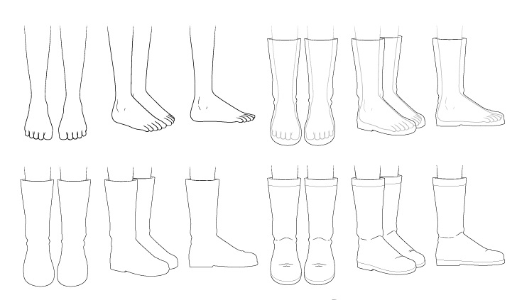Sepatu bot anime menggambar selangkah demi selangkah