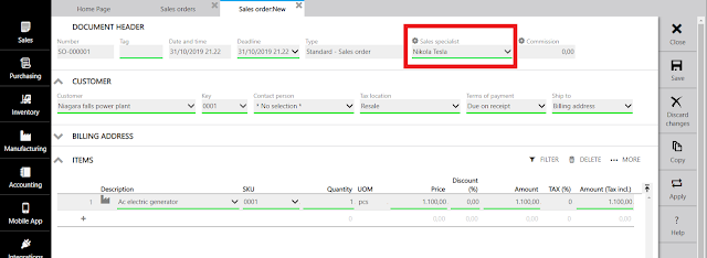 sales order in erpag