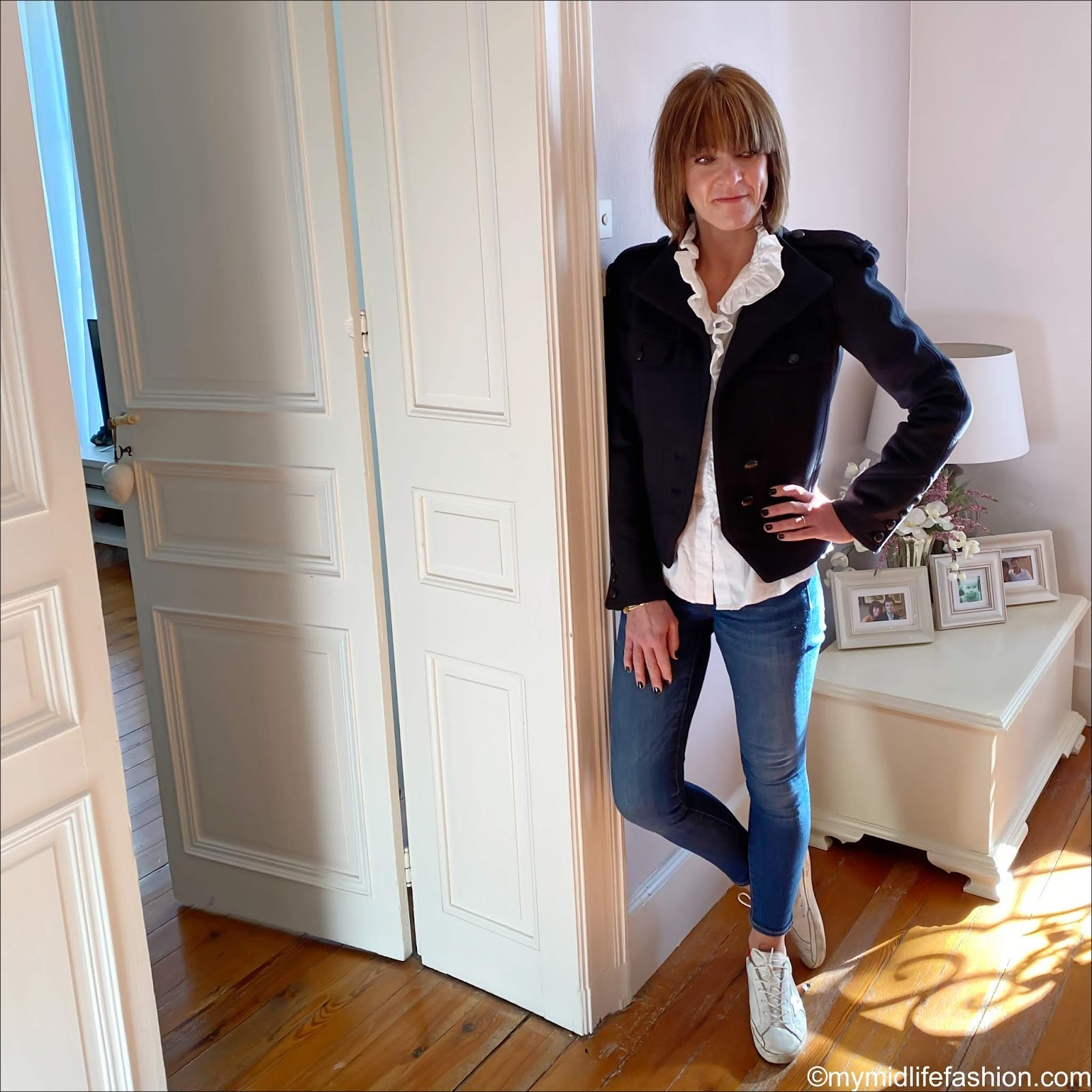 my midlife fashion, Isabel Marant wool military jacket, Zara oversized frill blouse, j crew 8 inch toothpick skinny jeans, golden goose superstar low top leather trainers