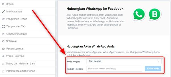 konfirmasi nomor whatsapp untuk halaman facebook