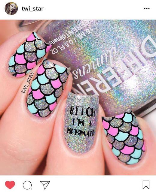 twi star bitch I'm a mermaid nail art