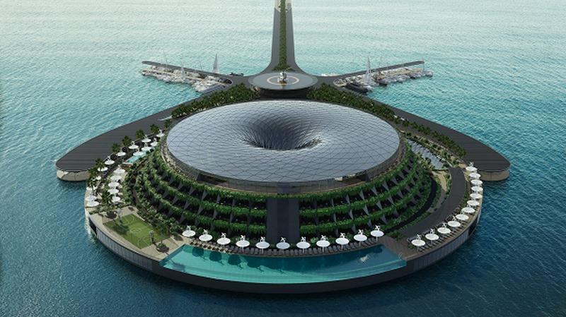 Phối cảnh khách sạn nổi tự quay quanh trục 24h ở Qatar