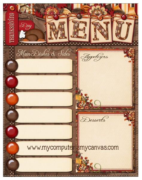 My Computer is My Canvas {FREEBIE} Thanksgiving Day Menu Printable