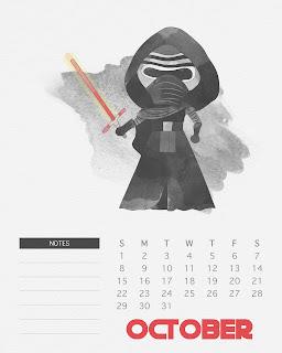 Calendario 2017 de Star Wars para Imprimir Gratis  Octubre.