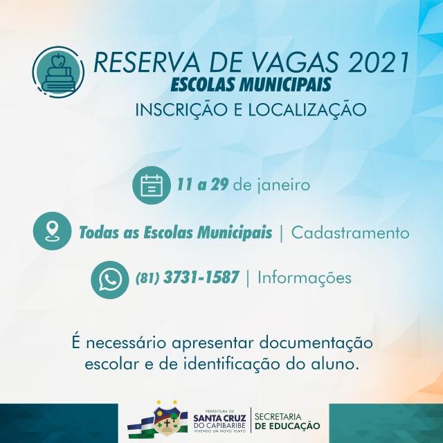 Reservas para o ano letivo de 2021 já podem ser feitas na Rede Municipal de Santa Cruz do Capibaribe