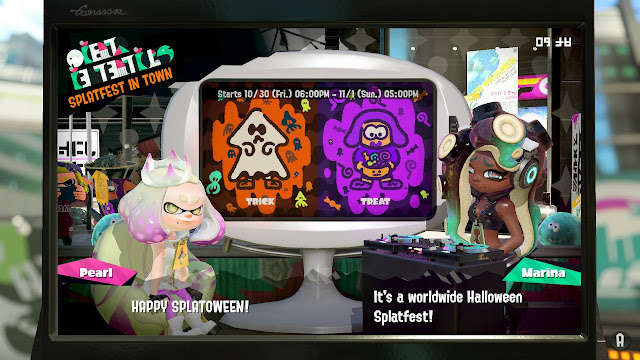 Splatoon 2 Splatfest Trick vs. Treat Splatoween Halloween rerun 2020 Pearl Marina