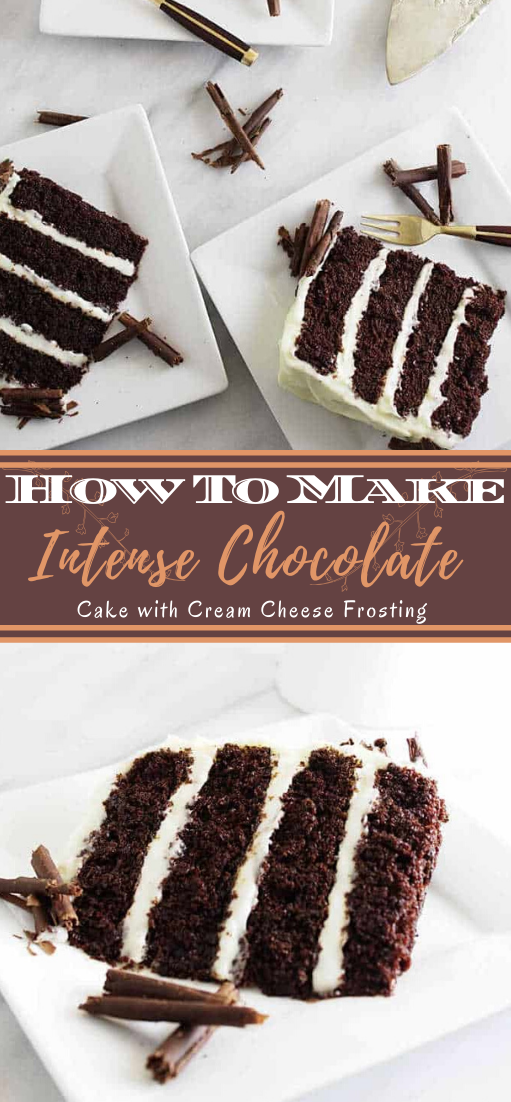 Intense Chocolate Cake with Cream Cheese Frosting #desserts #cakerecipe #chocolate #fingerfood #easy