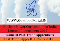 Nuclear Power Corporation of India Limited Recruitment 2017– 79 Trade Apprentices
