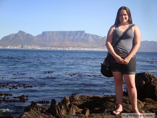 Table Mountain e Cidade do Cabo vistas da Robben Island