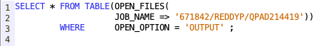 Retrieve list of open files from SQL - IBM i