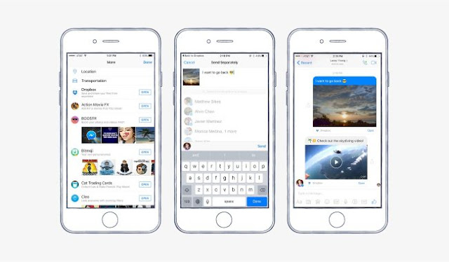Facebook messenger has a new feature that makes it easier to share photos, videos, and other files directly via DropBox