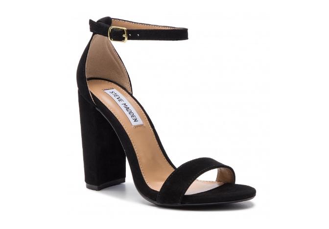 Sandale dama de zi cu toc gros negre din piele de antilopa STEVE MADDEN
