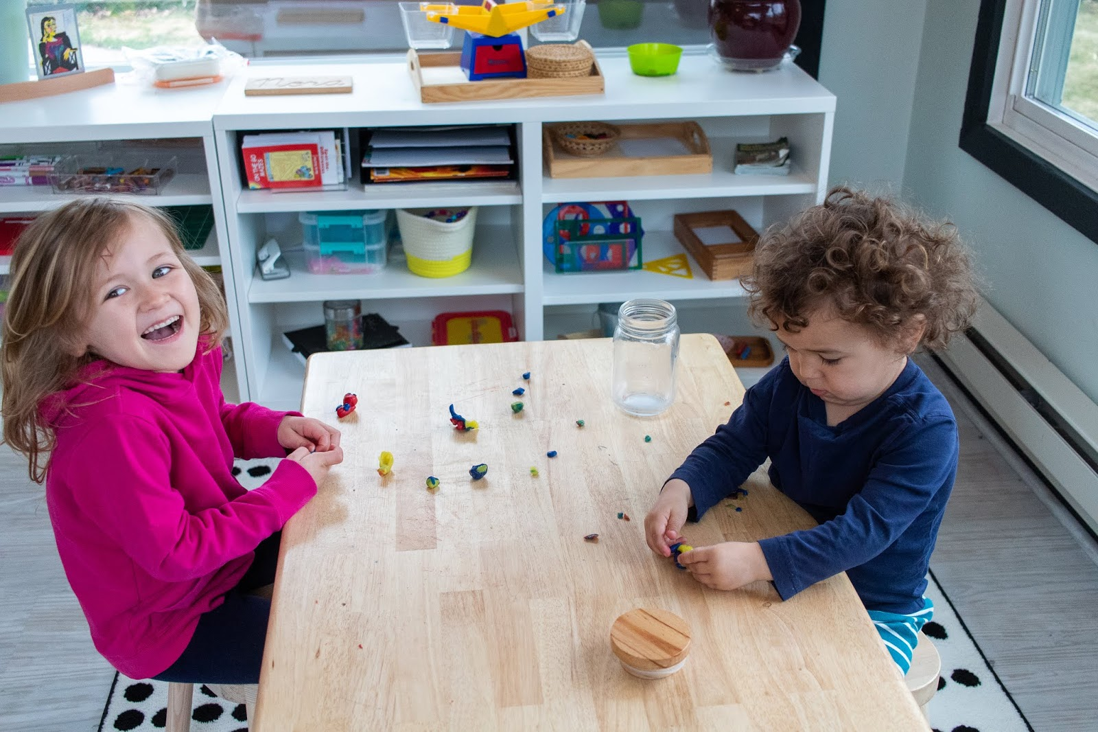 Here is a look at a Montessori work cycle at home and some of the activities that children might choose during that time.
