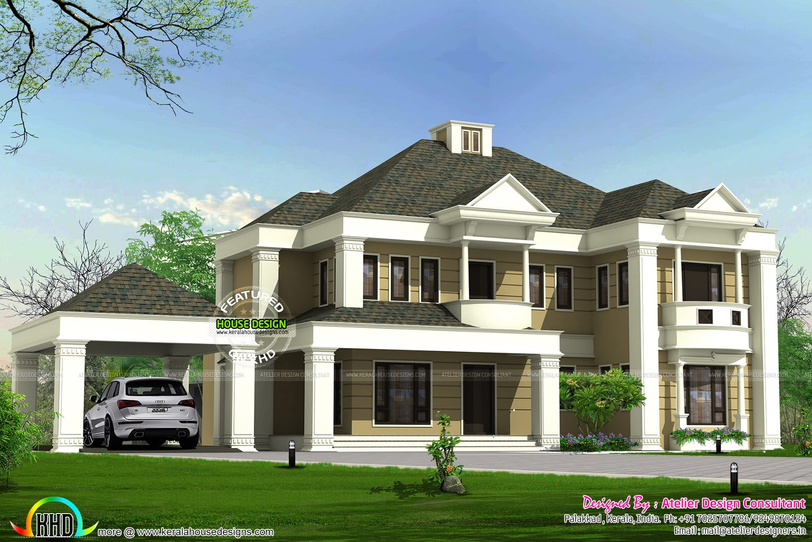 Colonial style sloped roof villa kerala home design and for Slope home design