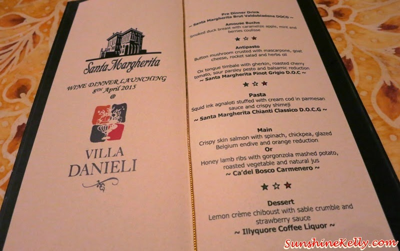 Italian Dining Experience, Santa Margherita Wine Dinner, Villa Danieli, sheraton imperial kl, food review, food wine pairing, santa margherita wine dinner menu, wine pairing menu, italian fine dining menu