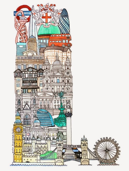 12-L-London-UK-Hugo-Yoshikawa-Illustrated-Architectural-Alphabet-City-Typography-www-designstack-co