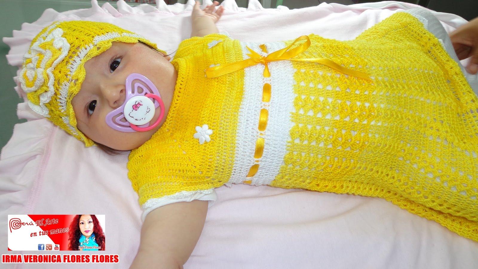 Vestido Amarillo Tejido A Crochet Para Una Bebe De 6 Meses A