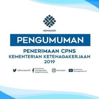 Pengumuman 416 Formasi CPNS Kementerian Ketenagakerjaan RI 2019