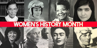 Composite poster for Women's History Month featuring images of iconic female leaders of the 20th & 21st century