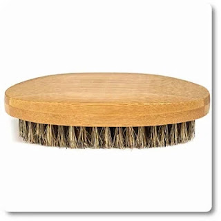 "GranNaturals Boar Bristle Hair + Beard Brush for Men -""Military Style"""